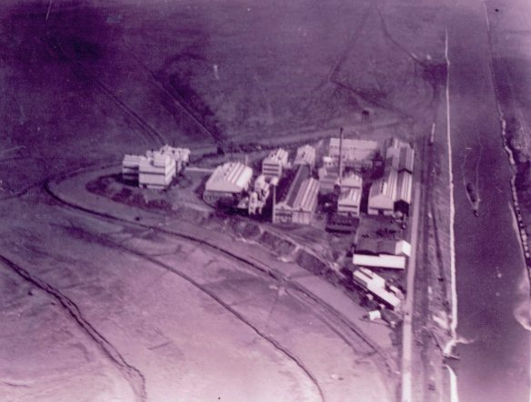 Old aerial photo of Wigg Works East