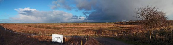05.02.13. Panorama view looking north from No 6 tank, Frodsham Marsh