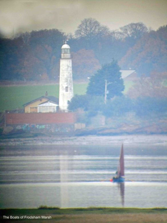 23.11.13. Shrimp boat and Hale lighthouse off Frodsham Score, Frodsham Marsh
