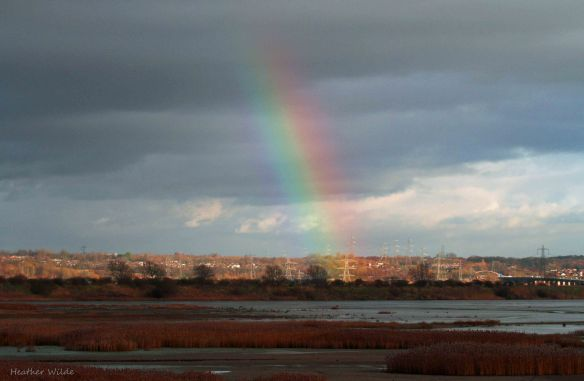 28.12.13. rainbow over no. 6 tank, Frodsham Marsh. Heather Wilde.