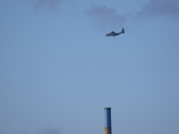 23.03.14. Hercules over the blue-topped chimney. Bill Morton