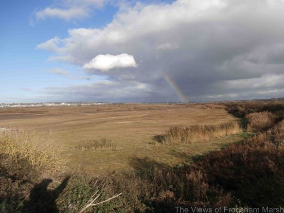 25.10.14. Rainbow over the east end of No.6 tank, Frodsham Marsh. Bill Morton