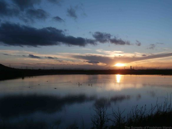 14.11.14. Sunset over No.6 tank, Frodsham Marsh. Bill Morton