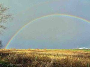 07.12.14. Rainbow over No.5 tank, Frodsham Marsh. Tony Broome