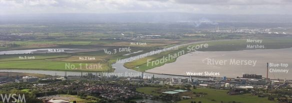 Frodsham Marsh aerial view from aeroplane approaching Liverpool airport, Sept'03 by Bill Morton