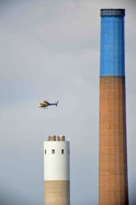 27.06.16.Police Helicopter over Weston Point chimney from No.6 tank, Frodsham Marsh. Bill Morton (9)